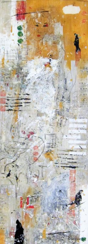 Cosmopolitan Girl I, mixed media on canvas, 2015