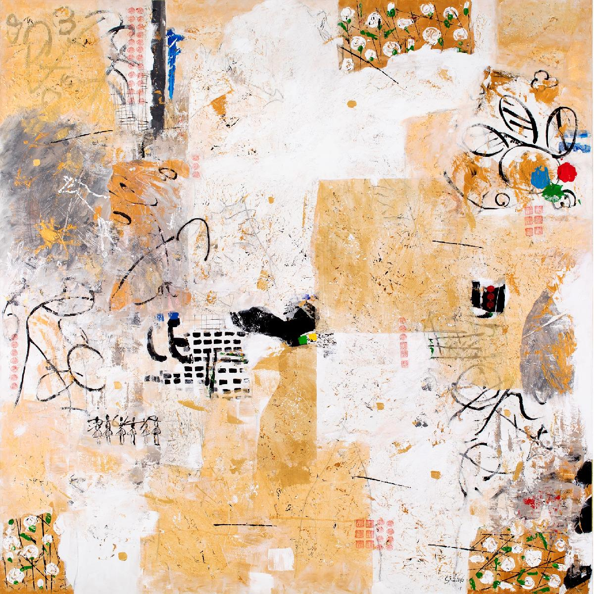 Canal Cheong Jagerroos, The Golden Garden, 180 x 180 cm, mixed media on canvas.jpg
